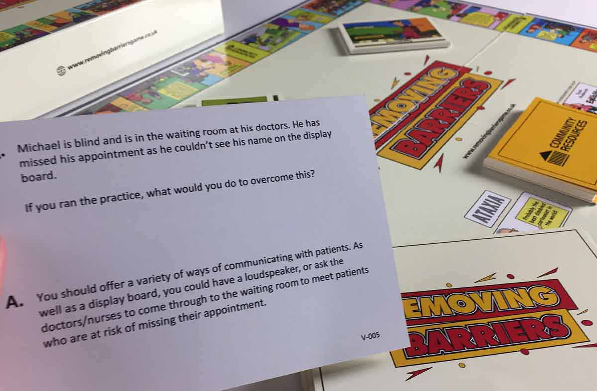 A close up photograph showing one of the question cards from the game.