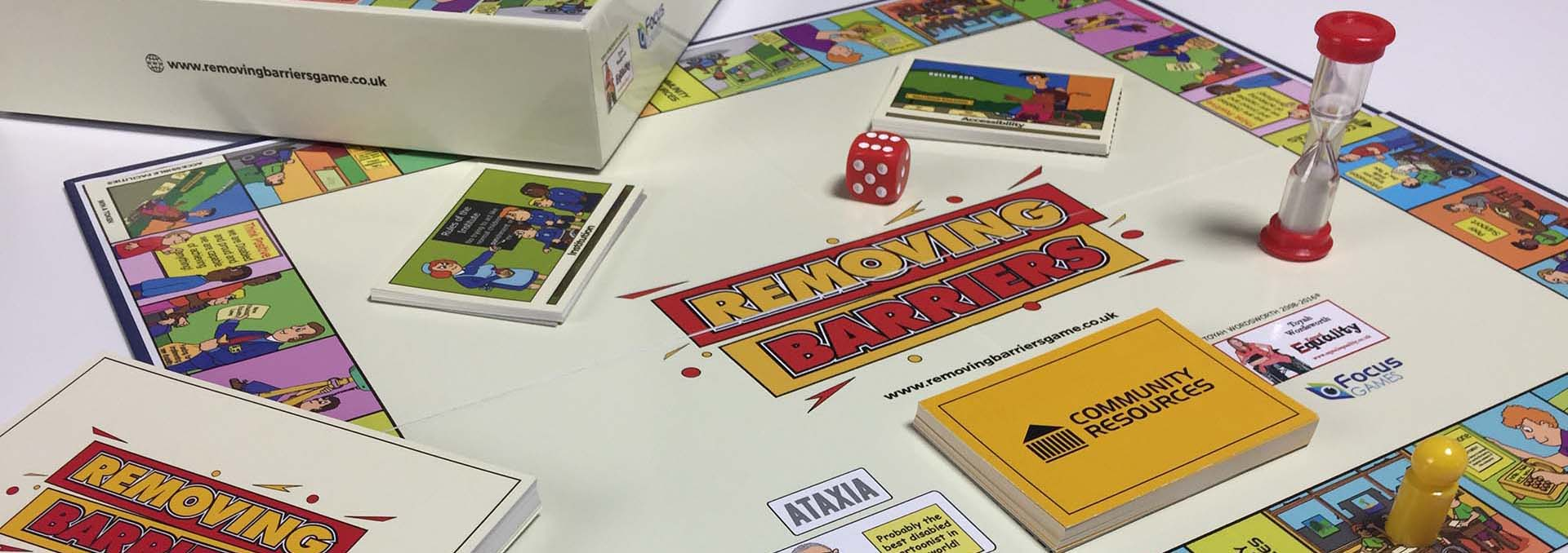The Removing Barriers Game comes with a board and four different categories of question card.